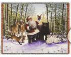 Santa in the Forest Throw Blanket (Woven/Tapestry)
