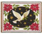 Dove and Poinsettias (Christmas) Throw Blanket (Woven/Tapestry)