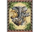Big Five Throw Blanket (Woven/Tapestry) Elephant, Lion, Rhino