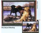 Board Meeting Throw Blanket (Woven/Tapestry) Labrador Retrievers