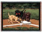 Stealing Second Throw Blanket (Woven/Tapestry) Labrador Retrieve