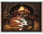 All Burned Out Throw Blanket (Woven/Tapestry) Cat